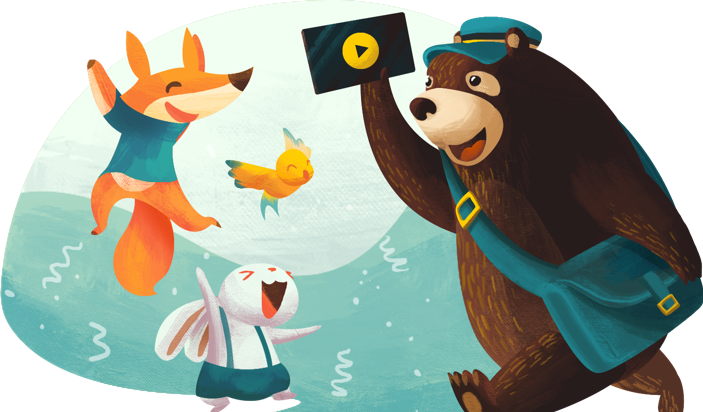 Fox & Bunny dancing with bear